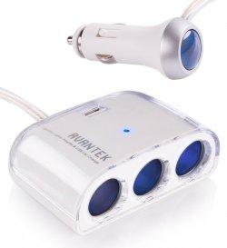Avantek 3-Fach Zigarettenanzünder Adapter Verteiler KFZ-Ladekabel Handy Auto-Ladegerät mit 1 USB Anschlüssen 9,99€ @Amazon
