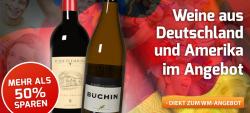 Bei Weinvorteil bis 50% Rabatt auf Weine aus Deutschland &USA + 3 Gutscheine im Wert von 5, 20 und 30€