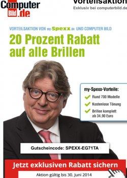 Computerbild Aktion gültig bis 30.06.14: 20% Gutschein für auf alle Brillen bei myspexx.de