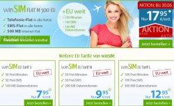 EU Tarif mit Allnet Flat, SMS Flat, 500 MB Daten für 17,95€/Monat –  monatlich kündbar @winSim