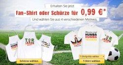 Fan-Shirt oder Fan-Schürze mit eigenem Foto/Namen für 0,99€ (+4,95€ Versand)
