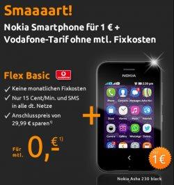 Gratisaktion @crash-Tarife.de: Nokia Smsrtphone Asha 230 + vodafone Flex Basic 0€ monatlich (einmalig 1€)