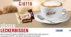 Gutschein auf Giotto-Packungen für Gratis-Cappucino bei Mc Cafe + Giotto-Kugel dazu
