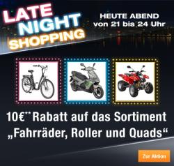 Heute um 21:00 Uhr, Late Night Shopping bei plus – 10 €uro Rabatt auf das Sortiment Fahrräder, Roller & Quads