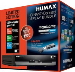Humax HD Nano Connect Replay Bundle inkl. WLAN-Stick und HD+ für 1 Jahr LIMITED EDITION + 2 Monate gratis Maxdome für 99,90 € (119,00 € Idealo) @Notebooksbilliger