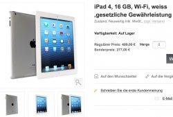 iPad 4, 16 GB, Wi-Fi, weiss natürlich neuwertige Rückläufer mit gesetzlicher Gewährleistung nur 277,-€ @oneado.de