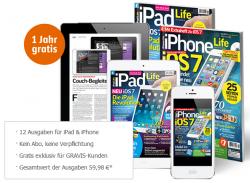 IPhone Life / IPad Life Abo für 1 Jahr im Wert von 59,98 € GRATIS (keine Kündigung nötig) @Gravis