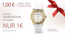 LUXUX Damenarmbanduhr für 1€ + 5€ Gutschein @Silvity.de