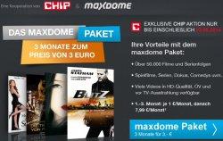 Maxdome-Chip Aktion: 3 Monate Maxdome Abo für nur 1€ im Monat !