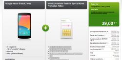 Telekom Special Allnet + Google Nexus 5 black, 16GB Zuzahlung 39€ für 19,95€ mtl. @modeo