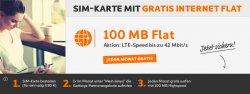 100 MB Datenflat gratis im EPlus-Netz (Simyo) mit LTE Einmalige Kosten 4,90€@ Simyo