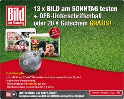13 Ausgaben Bild am Sonntag für 17,10 Euro + 20 Euro Amazon Gutschein oder DFB Ball mit Unterschriften