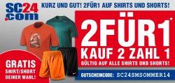 2 Kaufen 1 zahlen! Bis zu 50% auf Shirts & Shorts @SC24.com