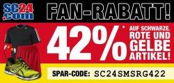 42% Rabatt auf schwarze, rote und gelbe Artikel +10 € bet-at-home Gutschein @SC24.com