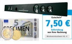 7,50€ bei Conrad.de bis 9.7, dadurch z.B. die Enox SB300BNS Soundbar für nur 92,45€ [Idealo: 102€]