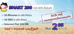 Aktion für Wenig-Telefonierer: 50 Freiminuten, 50 Frei-SMS, 200MB Internet für nur 2,95€ im Monat