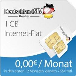 DeutschlandSIM Surfpaket 1 GB,12 Monate Vertragslaufzeit (1 GB Daten Flat, 0€ mtl. für 89€ @ Amazon