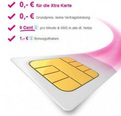 Gratis Xtra-Karte mit 1€ Guthaben @t-mobile.de