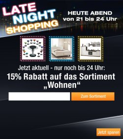 Heute Abend 15 % Rabatt auf das Sortiment WOHNEN bei Plus.de, nur bis 24.00 Uhr