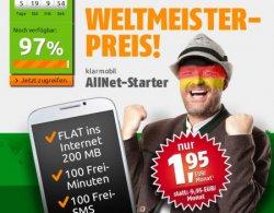 Klarmobil Allnet-Starter Tarif für 1,95€ im Monat mit 200MB Internet, 100 Freiminuten… @crash-tarife.de – gilt bis Montag 9 Uhr