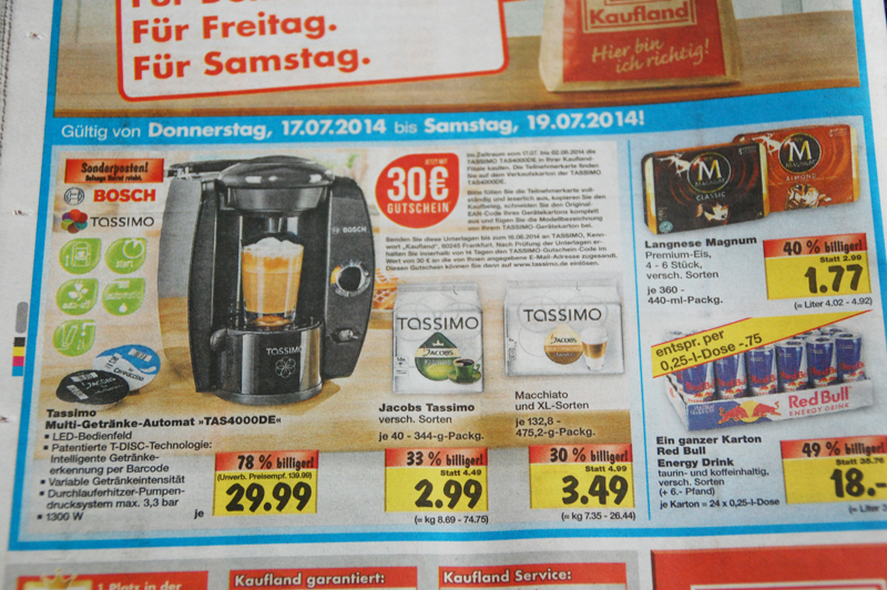 LOKAL] Kaufland Angebote ab 17.07-19.07 zb. Tassimo TAS40000 für 29 ...