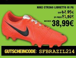 Nochmal 25% auf bereits reduzierte Fußball-Artikel z.B. Nike CTR360 Libretto III FG für 38,99€ @soccer-fans-shop.de