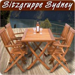 Sitzgruppe Sydney – Sitzgarnitur aus Holz mit 4 Stühlen + Tisch für 149,00 € (179,00 € Idealo) @eBay