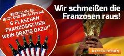WM-Aktion: Weinvorteil schmeißt die Franzosen raus!  6 Flaschen französischen Wein zur Bestellung dazu geschenkt + 15€ Gutschein ohne MBW