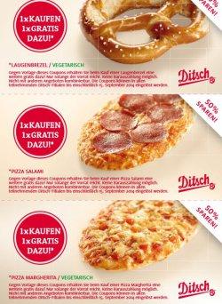 2 Brezeln oder Pizzen (Salami oder Margherita)  zum Preis von einem/r bei Ditsch