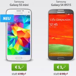 2 neue Livedeals @Sparhandy z.B. Samsung Galaxy S5 Mini oder Galaxy S4 mit Allnet-Flat für 19,99 € mtl.