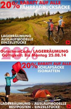 20% Rabatt auf alle Fahrradrucksäcke, Schlafsäcke & Isomatten @outdoortrekking2010.de