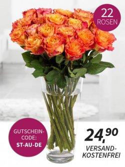 22 Rosen – Orange Juice Blumenstrauss für 24,90€ inkl. Versand @ MIFLORA