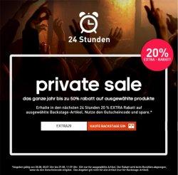 24stunden Aktion! 20% Gutschein auf ausgewählte Backstage-Artikel @Adidas.de