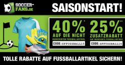 25% Rabatt auf bereits reduzierte-, oder 40% Rabatt auf nicht reduzierte Fußball-Artikel @Soccer-Fans-Shop.de