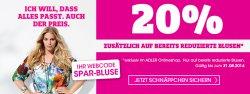 Adler Onlineshop, 20% Rabatt auf bereits reduzierte Damenblusen