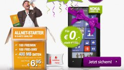Allnet Starter Tarif im D2-Netz (100 Freiminuten, 100 SMS, 400MB) + Nokia Lumia 520 nur 6,95€ mtl. @ Getmobile