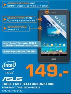 Asus Fonepad 7 8GB. 7Zoll HD Tablet bei Saturn nur 149€. (Idealo: ab 165€)