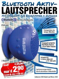 Bluetooth-Aktivlautsprecher für Badezimmer & Outdoor für 2,90 €uro zzgl.4,90 Versand @ pearl.de
