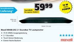@conrad.de: Soundbar Maxell MXSB-252 2.1 Soundbar nur 59,99€ zzg.Versand (idealo: 70,69€)