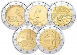 @ebay bietet Tauschaktion: 5x 2 Euro Münze 2014 Belgien, Finnland, Frankreich, Slowakei und Spanien für 10€ (ebay: ca.18€)