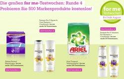 @for-me-online.de: Testwochen, 500 verschiedene Markenprodukte kostenlos testen – so lange der Vorrat reicht
