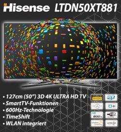 Hisense 126cm 4K Ultra HD 3D Fernseher Smart TV 799,00€ @eBay