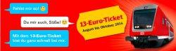 Jetzt neu: das 13-Euro-Ticket bei der @Bahn.de