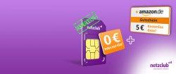 Kostenlose Netzclub Simkarte + 5€ Amazon – Gutschein @wirsparen