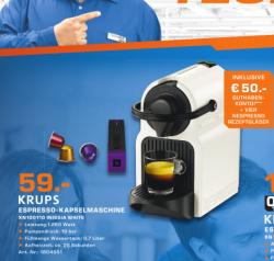 [LOKAL] Krups Nespresso XN 1001 Inissia weiss + 50€ Guthaben für effektiv 9€  [idealo 74,07€] @Saturn