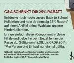 (LOKAL) [Offline] C&A – 25% Rabatt auf einen Artikel aus der Kinderbekleidung  back to the school