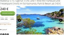 Mallorca: 5 Tg für 2 Erw. +1 Kind mit Frühstück + Freizeitpark-Eintritt im Sol Katmandu Park & Resort  240 € statt 1635,00 € @groupon