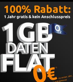 Mobilcom Debitel Internetflat 1 GB für 1 Jahr Gratis + keine Anschlussgebühren @ Crash-tarife