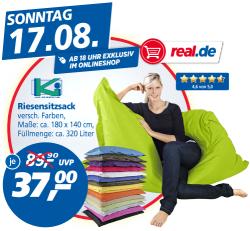 Preisbrecher, Riesensitzsack für 37 €uro, ab 18.00 Uhr exklusiv im Onlineshop @Real