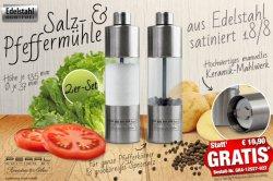 Rosenstein & Söhne Salz- & Pfeffermühle aus Edelstahl 2er-Set – kostenlos statt 19,90€  bei pearl.de (zzg.Versand)